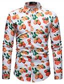 זול חולצות לגברים-פרחוני / קולור בלוק בסיסי חולצה - בגדי ריקוד גברים דפוס