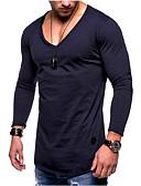 tanie Koszulki i tank topy męskie-T-shirt Męskie Podstawowy Bawełna Solidne kolory / Długi rękaw