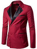 cheap Men's Jackets & Coats-Men's Going out / Work Regular Blazer, Solid Colored / Color Block V Neck Long Sleeve Polyester Black / Wine L / XL / XXL