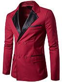 ieftine Maieu & Tricouri Bărbați-Bărbați Ieșire / Muncă Regular Blazer, Mată / Bloc Culoare În V Manșon Lung Poliester Negru / Roșu Vin L / XL / XXL
