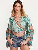 preiswerte Hemd-Damen Geometrisch - Boho Bluse, V-Ausschnitt Grundlegend