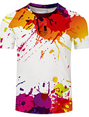 cheap Men's Tees & Tank Tops-Men's Basic / Exaggerated T-shirt - Geometric / Rainbow Print