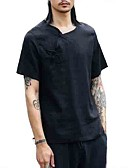 זול חולצות לגברים-חולצת גברים - צוואר בצבע מלא