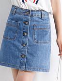 tanie Damska spódnica-Damskie Jeans Linia A Spódnice - Wyjściowe Solidne kolory
