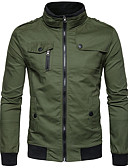 cheap Men's Hoodies & Sweatshirts-Men's Daily / Going out Regular Jacket, Solid Colored Stand Long Sleeve Cotton / Polyester / Spandex Navy Blue / Army Green / Khaki L / XL / XXL
