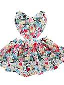 Χαμηλού Κόστους Βρεφικά φορέματα-Μωρό Κοριτσίστικα Ενεργό Καθημερινά Φλοράλ Στάμπα Αμάνικο Ως το Γόνατο Βαμβάκι Φόρεμα Πράσινο Ανοικτό