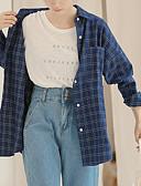 baratos Biquínis e Roupas de Banho Femininas-Mulheres Camisa Social - Trabalho Geométrica Colarinho de Camisa
