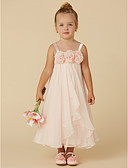 hesapli Çiçekçi Kız Elbiseleri-Sütun sapanlar Diz Altı Şifon Çiçekli ile Çiçekçi Kız Elbisesi tarafından LAN TING BRIDE®