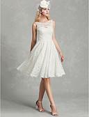 billige Bryllupskjoler-A-linje Scoop Neck Knelang Blonder Made-To-Measure Brudekjoler med Blonder av LAN TING BRIDE® / Vakker rygg