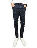 זול חולצות פולו לגברים-בגדי ריקוד גברים כותנה רזה ג'ינסים מכנסיים - מותניים גבוהים אחיד