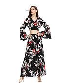 abordables Bufandas de Mujer-Mujer Vintage / Boho Manga de la llamarada Conjunto - Floral / Geométrico, Bordado Falda