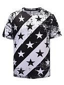 povoljno Muške majice i potkošulje-Majica s rukavima Muškarci - Punk & Gotika / pretjeran Dnevno / Izlasci Prugasti uzorak / Color block Print Crno-bijela