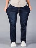 זול חולצות לגברים-בגדי ריקוד גברים מידות גדולות כותנה משוחרר ג'ינסים מכנסיים - מותניים גבוהים אחיד