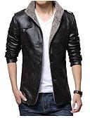 זול מכנסיים ושורטים לגברים-בגדי ריקוד גברים חום שחור חאקי XL XXL XXXL ז'קטים מעור אחיד עומד / שרוול ארוך / חורף