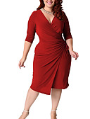 cheap Plus Size Dresses-Women's Basic Slim Sheath Dress - Solid Colored Wrap Deep V