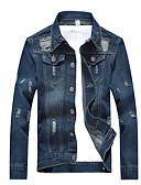 baratos Jaquetas & Casacos para Homens-Homens Jaqueta jeans Sólido Colarinho de Camisa / Manga Longa