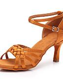 preiswerte Bauchtanzkleidung-Damen Schuhe für den lateinamerikanischen Tanz Satin Absätze Schlanke High Heel Maßfertigung Tanzschuhe Dunkelbraun