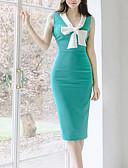 رخيصةأون فساتين للعمل-فستان نسائي كلاسيكي عصري قطن طول الركبة