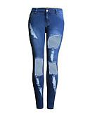 ieftine Pantaloni de Damă-Pentru femei Activ Mărime Plus Size Bumbac Blugi Pantaloni - Franjuri, Mată Alb negru