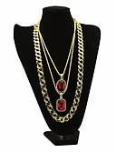 povoljno Bluza-Muškarci Kubični Zirconia Izjava Ogrlice Duga ogrlica Više slojeva Retro Debeli lanac Kreativan Dubai Hip Hop Legura Zlato 30/54/76 cm Ogrlice Jewelry 3pcs Za Karneval Klub Cosplay nošnje / Pasijans