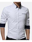 billige T-skjorter og singleter til herrer-Skjorte Herre - Ensfarget Arbeid Hvit XXXL / Langermet