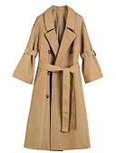 olcso Női ruhák-Női Munka Hosszú Kabát, Egyszínű V-alakú Hosszú ujj Poliészter Szürke / Khakizöld M / L / XL