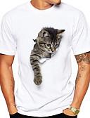 abordables Americanas y Trajes de Hombre-Hombre Camiseta, Escote Redondo Animal / Manga Corta