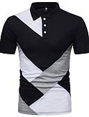 זול חולצות פולו לגברים-קולור בלוק צווארון חולצה בסיסי כותנה, Polo - בגדי ריקוד גברים טלאים שחור ולבן / שרוולים קצרים