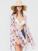 cheap Women's Swimwear & Bikinis-Women's Off Shoulder White Pink Navy Blue Skirt Cover-Up Swimwear - Floral Lemon One-Size / Sexy