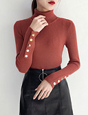 cheap Women's Sweaters-women's going out long sleeve slim pullover - solid colored turtleneck
