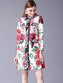 abordables Abrigo y Gabardinas de Mujer-Mujer Vintage / Básico Abrigo Estampado Floral Estampado