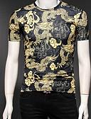 billiga Herrtröjor-Geometrisk Bomull T-shirt - Vintage / Grundläggande / Kineseri Herr Rund hals Svart XXXL / Kortärmad