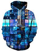 povoljno Muške majice i potkošulje-Muškarci Aktivan / pretjeran Veći konfekcijski brojevi Širok kroj Hlače - 3D / Crtani film Print Plava / S kapuljačom / Dugih rukava / Jesen / Zima