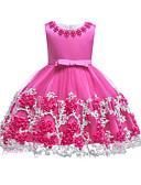 Χαμηλού Κόστους Φορέματα για κορίτσια-Παιδιά Νήπιο Κοριτσίστικα Βίντατζ Βασικό Πάρτι Αργίες Μονόχρωμο Δαντέλα Αμάνικο Ως το Γόνατο Βαμβάκι Πολυεστέρας Φόρεμα Βυσσινί