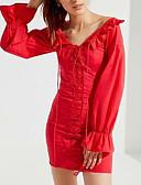 olcso Print Dresses-Női Alkalmi Hüvely Ruha Mini V-alakú