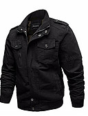זול גברים-ג'קטים ומעילים-אחיד ג'קט - בגדי ריקוד גברים כותנה / שרוול ארוך