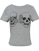 tanie T-shirt-Puszysta T-shirt Damskie Bawełna Wyjściowe Czaszka