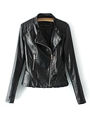 cheap Women's Leather Jackets-Women's Leather Jacket - Solid Colored Shirt Collar