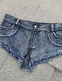 preiswerte Damen Hosen-Damen Aktiv / Grundlegend Übergrössen Alltag Strand Jeans / Kurze Hosen Hose - Solide Quaste Hohe Taillenlinie Blau XS S M / Sexy