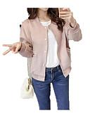 povoljno Bomber Jackets-Žene Sport Ulični šik Normalne dužine Jakna, Jednobojni Ruska kragna Dugih rukava Poliester Braon / Blushing Pink / Sive boje L / XL / XXL