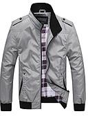 זול שעוני יוקרה-בגדי ריקוד גברים אפור ירוק צבא חאקי XL XXL XXXL ג'קט אחיד עומד / שרוול ארוך