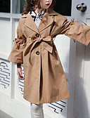 cheap Girls' Jackets & Coats-Kids Girls' Active / Street chic Daily Solid Colored Lace up Long Sleeve Long Rayon / Polyester Trench Coat Khaki