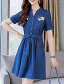 cheap Work Dresses-Women's Daily Basic Slim Denim Dress - Floral Embroidered V Neck Summer Cotton Blue L XL XXL