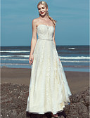 cheap Wedding Dresses-A-Line Strapless Floor Length Lace / Tulle Made-To-Measure Wedding Dresses with Beading / Lace by LAN TING BRIDE® / Beautiful Back