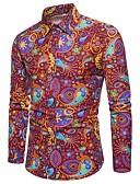ieftine Tricou Bărbați-Bărbați Mărime Plus Size Cămașă Club In De Bază / Șic Stradă - Bloc Culoare Imprimeu / Manșon Lung / Zvelt