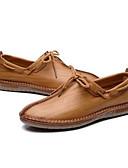 olcso Férfi pólók-Férfi Kényelmes cipők Bőr Tavaszi nyár Alkalmi Papucsok & Balerinacipők Sötétbarna / Khakizöld