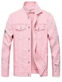 זול גברים-ג'קטים ומעילים-ג'ינס בגדי ריקוד גברים שחור אודם ורוד מסמיק XL XXL XXXL ז'קטים מג'ינס אחיד חור צווארון חולצה / שרוול ארוך / אביב / סתיו