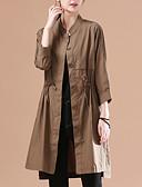 ieftine Paltoane Trench Femei-Pentru femei Zilnic Lung Palton, Mată Rotund Manșon Lung Poliester Maro M / L / XL