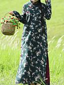 رخيصةأون فساتين فينتيدج قديمة-نسائي النمط الصيني نحيل بنطلون - ورد طباعة أخضر / طويل للأرض / مرتفعة