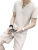 cheap Men's Hoodies & Sweatshirts-Men's Short Sleeve Linen Activewear Set - Letter